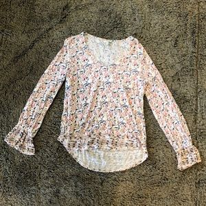 Sz M Lucky Brand Floral Blouse